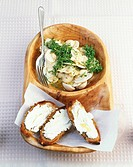 Mushroom salad with cress and goat´s cheese crostini