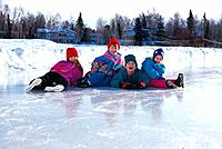 Children Sitting on Ice/nWhile Skating Westchester AK SC Winter
