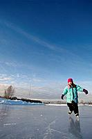Young Girl Ice Skates Westchester Lagoon SC AK