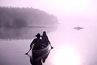 Couple Canoeing @ Sunrise on Lake Portage Valley SC AK Summer in Fog
