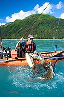 Male fishreman sitting on edge of kayak catching a halibut in Resurrection Bay Seward Kenai Peninsula Alaska summer