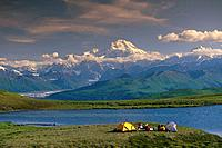 Hikers @ Camp near Tundra Pond Denali SP SC AK Summer/nw/Mt McKinley background
