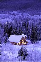 Cabin Coverd W/ Snow Winter Girdwood Evening SC AK