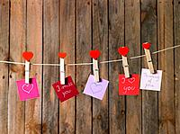 Love messages hanging on clothesline