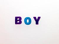 Word BOY made from magnetic letters (thumbnail)