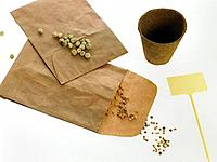 Two brown paper envelopes with seeds and a flower pot