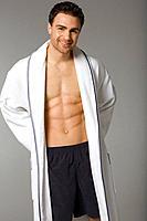 Young man in bathrobe