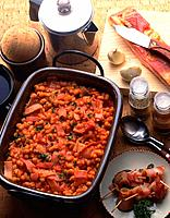 Beans Stew with Tomato and Bacon, High Angle View
