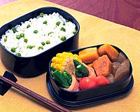 Lunch Box, Rice Topped with Green Pea, High Angle View