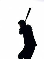 Bsinessman swinging a bat, Side View, Silhouette