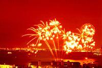 Fireworks exploding in sky, soft focus, long exposure