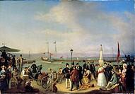 fine arts, Stirnbrand, Franz, circa 1788 _ 1882, Alter Hafen Friedrichshafen mit Raddasmpfer Kronprinz, Friedrichshafen old harbour with paddlesteamer...