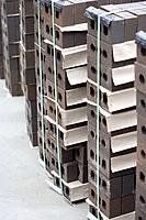 Rows of stack tied brown bricks