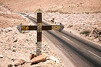 Roadside cross made with old car regsitration plates, along Highway 11, Chile, passing through the Atacama Desert between Arica and Bolivia