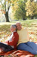Senior couple relaxing in a park