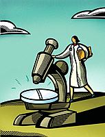 Doctor looking through a giant microscope at a giant pill
