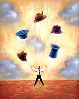 Businessman juggling different hats (thumbnail)