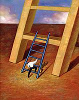 Businessman using small ladder to climb onto a step of giant ladder (thumbnail)