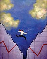 Businessman leaping over a gap in a torn line graph