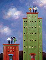 Two groups of business people standing on buildings of varying heights
