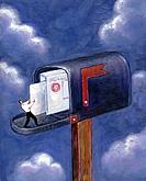 Tiny man pulling mail from a giant mailbox