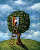 Businessman climbing ladder into a doorway in a tree