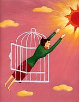A woman flying out of a cage toward the sun