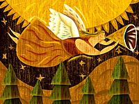 A winged angel flying while playing a horn instrument