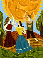 Three people dancing near the sun