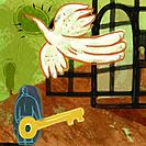 A man holding a key, freeing a large bird from a cage (thumbnail)