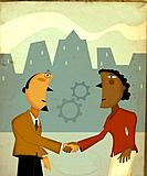 Business people shaking hands underneath gears (thumbnail)