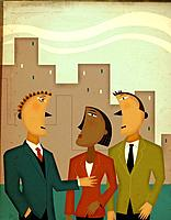 Three business people talking in front of office buildings (thumbnail)
