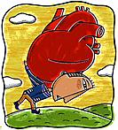 A man carrying a giant heart