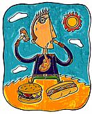 A man with heartburn holding a bottle of pills, with a burger and hot dog in front