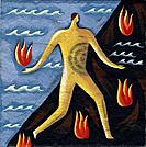 Outline of a man walking over flames and water