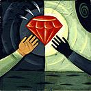 Two human hands reaching out for a red diamond