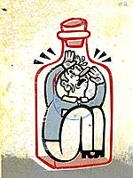Drawing of a man trapped inside a bottle
