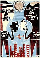 Two businessmen joining puzzle pieces together, as they stand over buildings