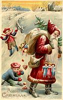 Vintage Christmas postcard with children picking up presents spilled by Santa Claus from his gift sack
