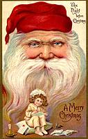 Vintage Christmas postcard with a little girl writing a list, and the face of Santa Claus in the background