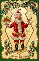 Santa Claus holding a tray of food in one hand and a pipe in another