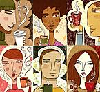 Collage of six people enjoying coffee