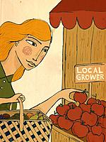 A woman picking apples from a local grower (thumbnail)