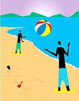 Silhouette of two people playing beach ball, and another person buried in the sand