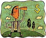 Businessman looking at a dollar sign through a telescope (thumbnail)