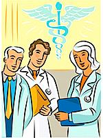 Doctors standing near a caduceus symbol