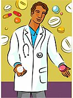 Doctor holding two different types of pills