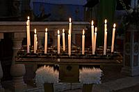 Italy, Tuscany, Lit Candles in church