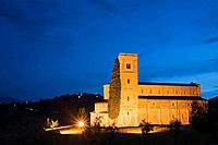 Italy, Tuscany, Sant'Antimo abbey church at night