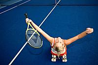 Tennis, Austria, Europe, Ried, Upper Austria, woman, indoor tennis, court, red dress, racket, match, game, girl, indoo